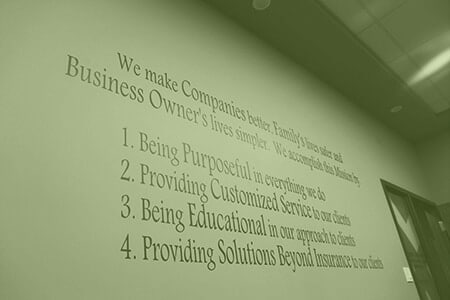 Quote on Henderson Insurance wall, Mission, Values, Customized Service, Educational, Solutions